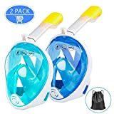Ezire Full Face Snorkel Mask 2-Pack Diving Mask Seaview 180° Panoramic Viewing Snorkeling Mask with Action Camera Mount Easy Breath Anti-Fog Anti-Leak Snorkeling Design for Adults (L/XL)