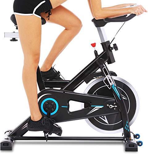 Profun Bicicleta Estática de Spinning Profesional, Ajustable Resistencia, Pantalla LCD, Bicicleta Fitness de Gimnasio Ejercicio con Volante de Inercia, Sillín Ajustable, Máx.130kg (Negro con App)