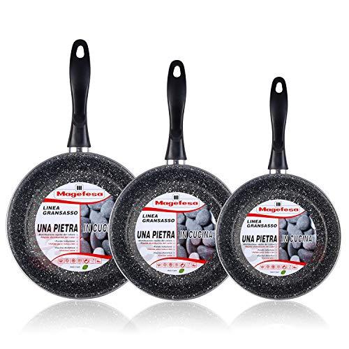 Magefesa K2 Gransasso - Set Juego 3 Sartenes 20-24-28 cm, inducción, Antiadherente Piedra Libre de PFOA, Limpieza lavavajillas Apta para Todas Las cocinas, vitroceramica, Gas, Fabricadas en España