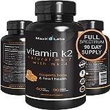 Best Vitamin K2 - 600 mcg - Full Spectrum - All Natural MK7 Natto and MK4 Plus Calcium 100 mg - Vitamins K MK-7 + MK-4 - No GMOs, Vegan K2-MK7 Supplement Complex K2-7 M7 - 90 Veggie Caps