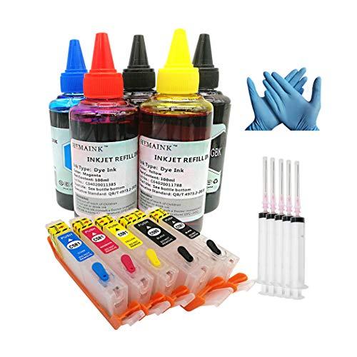 HEMAINK - Cartuchos de tinta recargables y 5 botellas de tinta compatibles con Canon PGI-580XXL CLI-581XXL para impresora TS6150,TS6151, TS6250, TS6350, TS6351, TS705, TR7550, TR8550, TS9150, TS9155