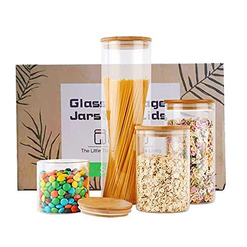 AideMeng Vorratsdosen 4er Set, Vorratsdosen Glas Gewürzgläser Luftdicht Glasbehälter aus Glasdose Mit Deckel Set, Mepal Vorratsdosenset Glas Aufbewahrung Küche Tee Gewürzgläser (White)