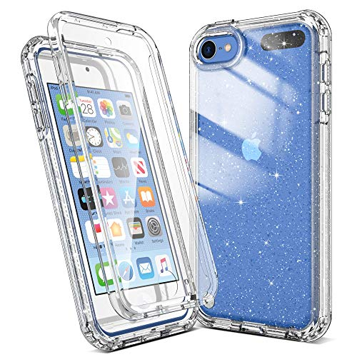 Imguardz Case for iPod Touch 7th/6th/5th Generation with Build in Screen Protector Heavy Duty FullBody Protection Shockproof AntiScratch Bumper Cover for iPod Touch 7/6/5 Clear Glitter