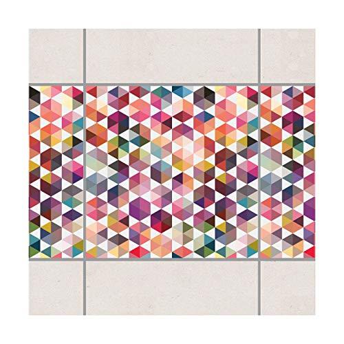 Fliesen Bordüre Hexagon Facetten 10x10 cm Fliesenaufkleber, Setgröße: 4teilig
