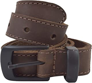 Two Row Stitch Leather Belt/Rustic Charcoal Buckle, (1 in.) Wide Handmade Includes 101 Year Warranty :: Bourbon Brown (Size 34)