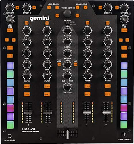 Gemini PMX-10 2-Kanal Mixer All Metal Professionl DJ Controller mit RGB Performance Pads, MIDI und Innofader Ready Crossfader
