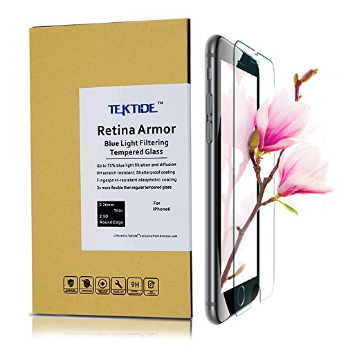 Tektide Screen Protector for iPhone 6/ 6S/7/8, [Eye Protection] Blue Light Blocking Tempered Glass, 3D Touch Compatible, Bubble-free Easy Installation 9H Hardness Fingerprint Resistant Shatter Proof [2 Pack]