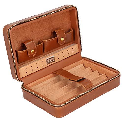 Portátil Bloquee la humedad con un humidificador Caja de puros Accesorio para puros para 4 puros Viajes al aire libre(Brown square)