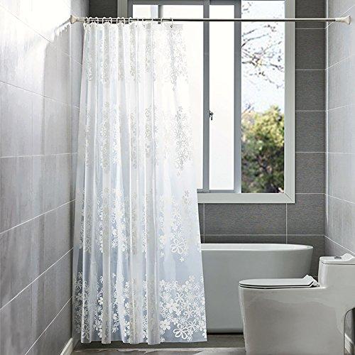 Duschvorhang Wasserdicht und Anti-Schimmel von ShowPower, PEVA Wasserdichter Duschvorhang Durchsichtige Blumen 240 x 200 cm, mit 12 Duschvorhang Ringe, Weiß