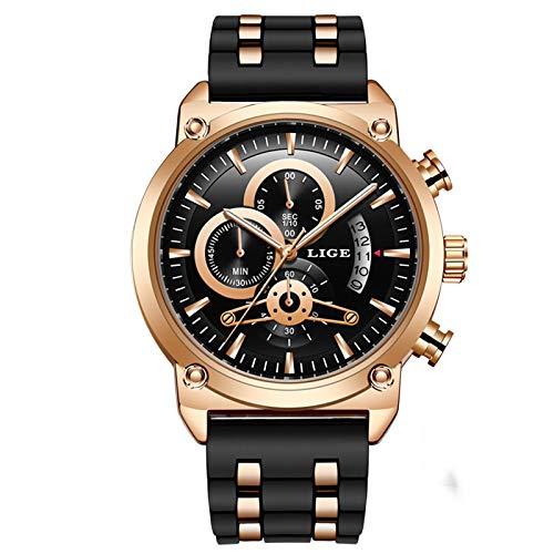 xiaoxioaguo Reloj clásico para hombre de lujo de silicona militar resistente al agua reloj de cuarzo 3 colores (azul/negro/oro) Rosegoldblack