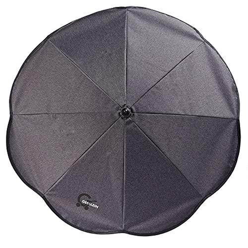 Gesslein Sonnenschirm Design 812 mit Universalhalterung von, Sonnenschutz für Kinderwagen & Buggys│70cm Durchmesser, biegsam, 3-fach verstellbar, für Rund- und Ovalrohre, phantomgrau meliert