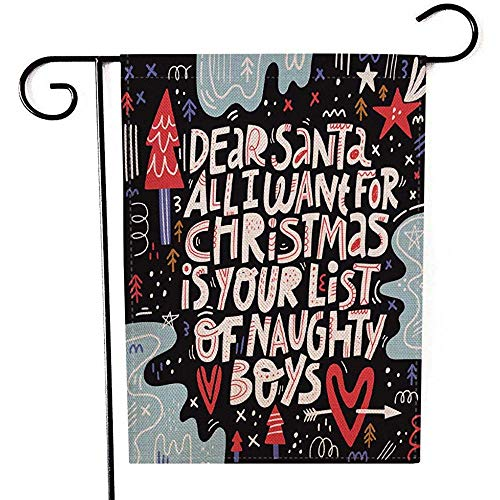 jiaxingdalin Garten-Flagge im Freien, Weihnachtsgruß-Karte gezeichnete Farbschablonen-Nette Wunschliste, die Brief zu Santa Xmas Decorative Yard Flag beschriftet