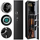 LINCOM Rifle Safe, Biometric Gun Safes & Cabinets for 5 Rifle Shotgun for Home, Quick Access Gun Safes for Rifles and Shotguns with Separate Lock Box,3 Handgun Pocket and Silent Mode