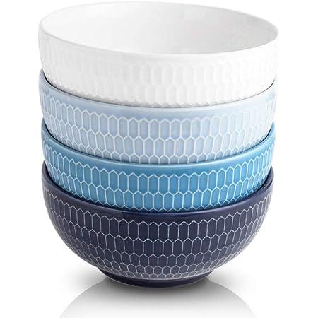 KOOV 24 Ounce Soup Bowl Set, Porcelain Cereal Bowls Microwave And Dishwasher Safe, Kitchen Bowls For Oatmeal Breakfast, Chip, Rice, Ceramic Bowls Set of 4 (Blue Series)