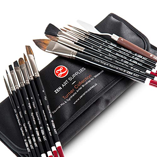 ZenART Professional Watercolor Brush Set – 14 x Birch Wood Squirrel and Synthetic Paint Brushes incl Palette Knife – Flats, Rounds, Filbert, Fan, Rigger, Cats Tongue, & Detailing – Satin Travel Pouch