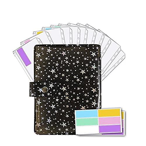 OVBBESS Star A6 - Funda para carpeta, para presupuesto, bolsillo para carpeta, carpeta, cuaderno de planificación de presupuesto, carpeta de sobres de efectivo