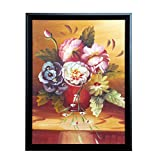 Hand-painted peony oil painting decorative painting modern minimalist living room hanging painting mural lucky feng shui corridor aisle vertical 12inX16in with photo frame
