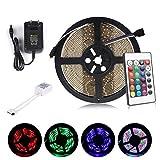 Multicolor Tira de Luz LED Impermeable LED Strips ALED LIGHT RGB 5M(16.4 ft) 3528 SMD 300 LEDs + Adaptador de Alimentación de 12V 2A + 24 Mando a Distancia Clave + Receptor + Descripción del Producto