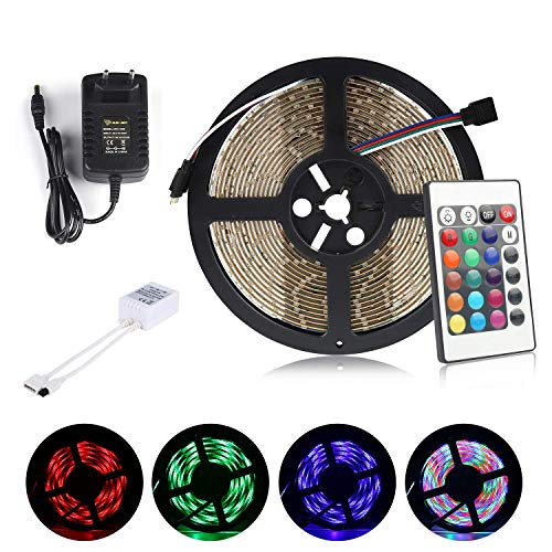 Multicolor Tira de Luz LED Impermeable LED Strips ALED LIGHT RGB 5M(16.4 ft) 3528 SMD 300 LEDs + Adaptador de Alimentación de 12V 2A + 24 Mando a Distancia Clave + Receptor + Descripción del Producto