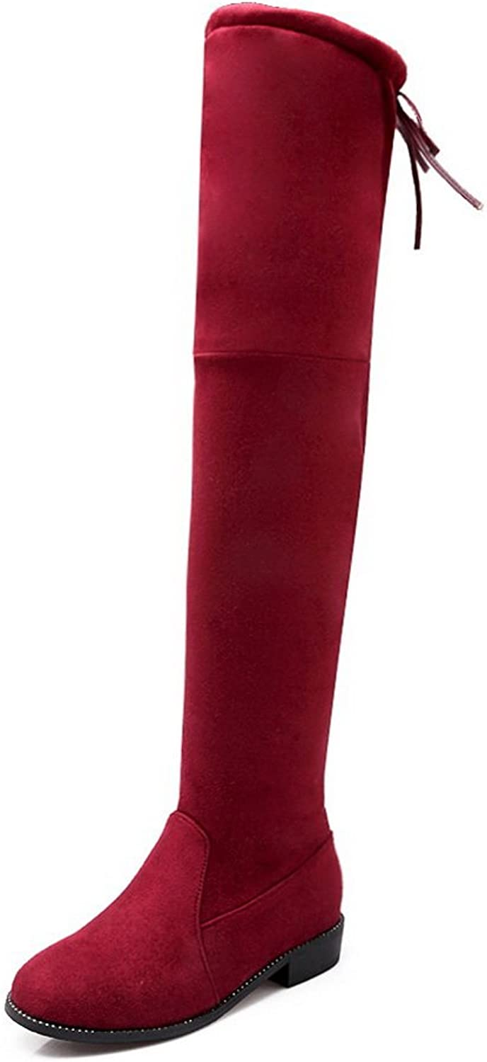 BalaMasa Womens Pull-On Low-Heel Round-Toe Solid Square Heels Above-The-Knee Claret Suede Boots ABL09815 - 10 B(M) US