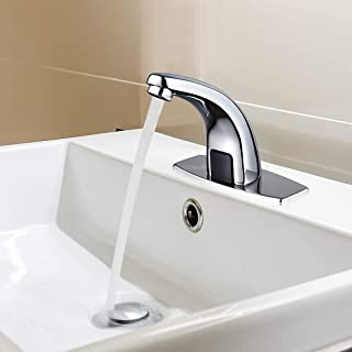 HALO Automatic Touchless Sensor Bathroom Faucet, Motion Activated Hands Free Kitchen Sink Tap with Hole Cover Deck Plate, Lead Free Kitchen Vessel Sink Tap with Control Box,Brushed Nickel