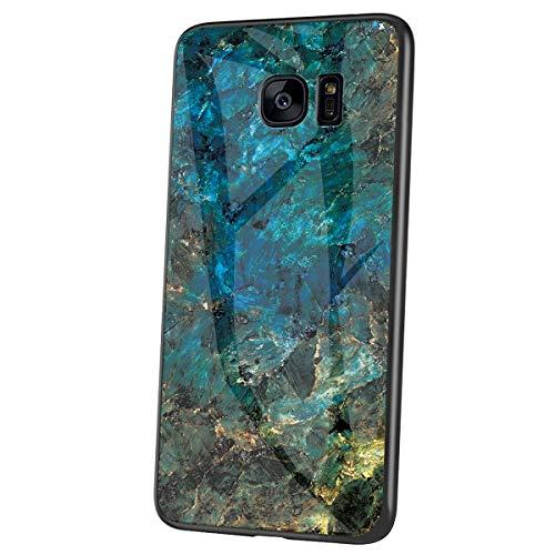 Herbests Kompatibel mit Samsung Galaxy S7 Edge Hülle Gehärtetes Glas Rückseite + Silikon Bumper Handyhülle Marmor Muster Kratzfeste Hardcase Schutzhülle Stoßfest Hybrid Hülle,Grün