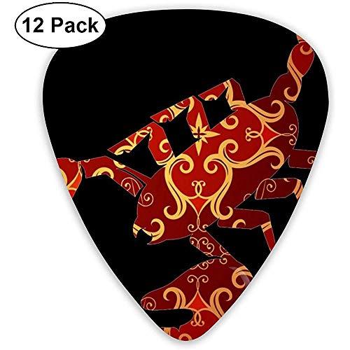 Púas de guitarra Scorpion pintadas 12 paquetes para bajo, guitarra eléctrica y acústica Delgado, mediano, pesado 0 .46/0.71/0.96Mm