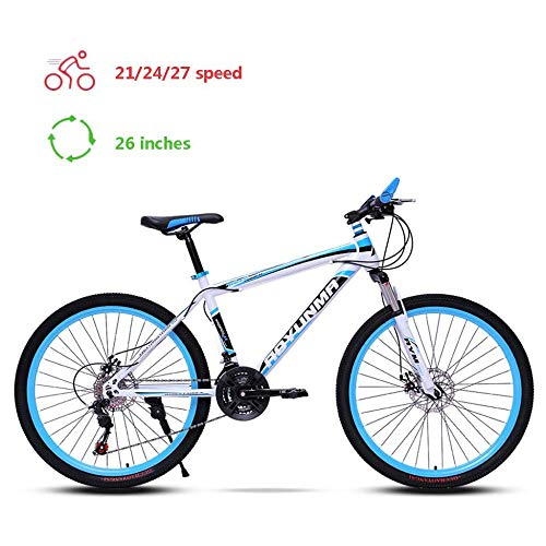 TRGCJGH Mountain Bike 26 Inch, Hardtail Mountain Trail Bike High Carbon Steel Outroad Bicycles, 21/24/27-Speed Bicycle,B-21speed