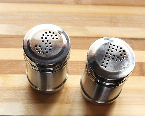 Juvale Salt and Pepper Shakers - Modern Kitchen Stainless Steel Salt and Pepper Shakers - 3.5 Inch