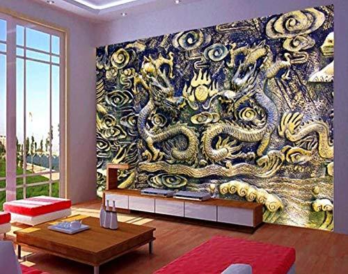 Behang achtergrond Chinese draak grootte van hout TV achtergrond muur decoratie huis woonkamer slaapkamer muur muur 200*140cm 200 x 140 cm.