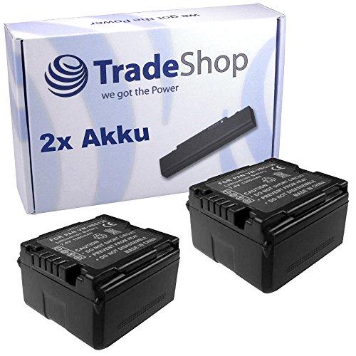 2x Trade-Shop Premium Kamera Li-Ion Akku 7,2V / 7,4V für Panasonic HDC-SD800 HDC-SD900 HDC-SD909 HDC-TM900 HDC-HS900 ersetzt VW-VBN130 VW-VBN-130 VWVBN130 mit Infochip und Restlaufanzeige%0d%0a