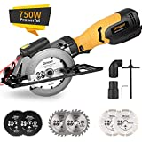 "Mini Circular Saw, Ginour 6.2A Small Power Saw with Laser Guide, 6 Blades(2 pcs 5' & 4 pcs 4-1/2""), Max Cutting Depth 1-7/8''(90°), 1-5/16''(45°), Ideal for Wood, Tile, Backerboard, Cement, Drywall"