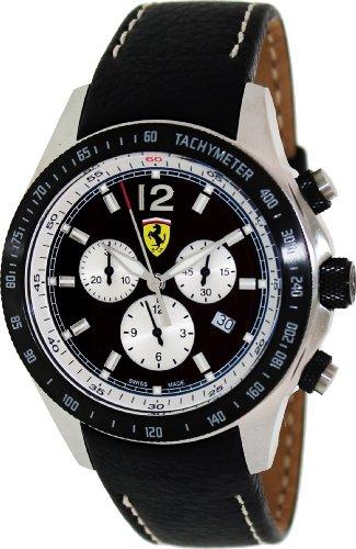 Ferrari Scuderia Herren 44mm Chronograph Schwarz Leder Armband Uhr FE-07-ACIP-BK
