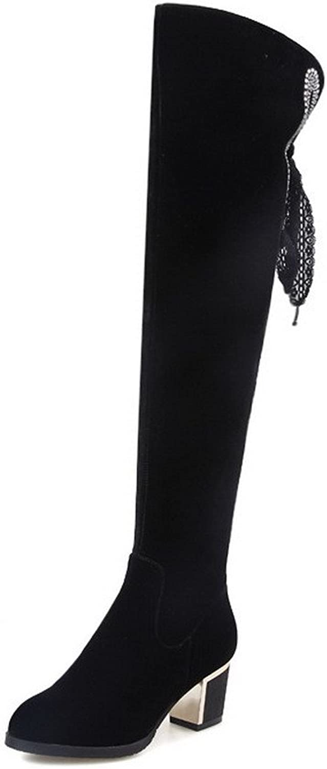 WeenFashion Women's Round Closed Toe Frosted Zipper Kitten-Heels Above-The-Knee Boots