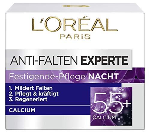 L'Oréal Paris Falten Gesichtscreme, Anti-Falten Experte 55+ Nachtcreme für Damen ab 55 Jahren mit Calcium, 3er Pack (3 x 50 ml)
