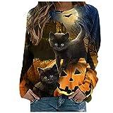 Moda Halloween Sudaderas Mujer con Estampado de Gato Negro Pullover de Patchwork Suelto y Casual Camisetas Manga Larga de Poliéster Cómodo Camisas de Escote Redondo Elegantes para Fiesta