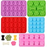 GELIFATLE Puppy Dog Paw and Bone Silicone Molds Silicone Trays for Chocolate, Candy, Jelly, Ice Cube, Dog Treats (5pack)