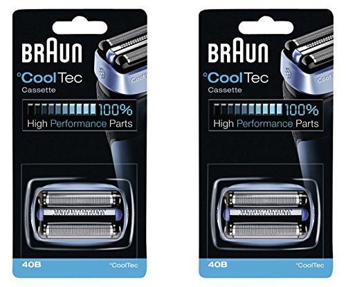 40B BRAUN Mens Electric Shaver CoolTec Foil & Cutter Pack Set Head Replacement Cassette, 2 Count