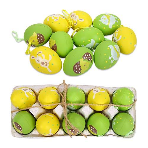 FORMIZON 10 Pezzi Uova di Pasqua, Uova di Plastica Multicolore, Decorazione di Uova Pasquali, Appendere Decorazioni di Uova di Pasqua, Sagome a Forma di Uovo di Pasqua per Artigianato (Giallo Verde)