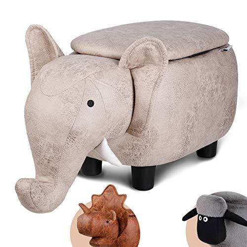 Besit Sgabelli per Camerette, Sgabello per Cambio Scarpe , Spazio di Archiviazione Nascosto, Sgabello da Bambino, Tessuto Eco-Tech Facile da Mantenere, Capacità 120 kg, Elefante
