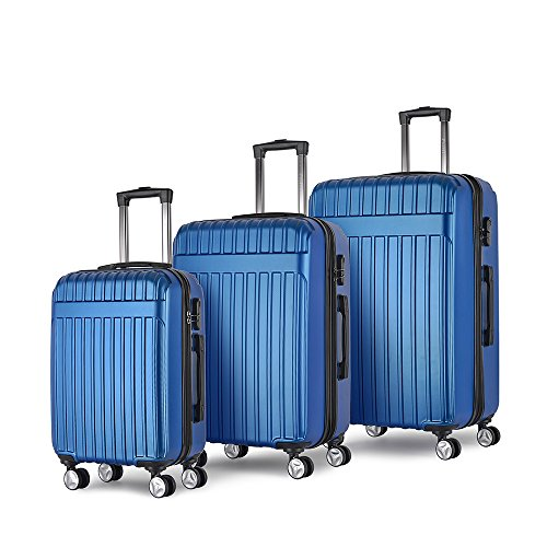 Buy Bargain ProHT 3 Pieces Luggage Sets ABS 202428 with Combination Lock,Spinner,Expandable (Blue...