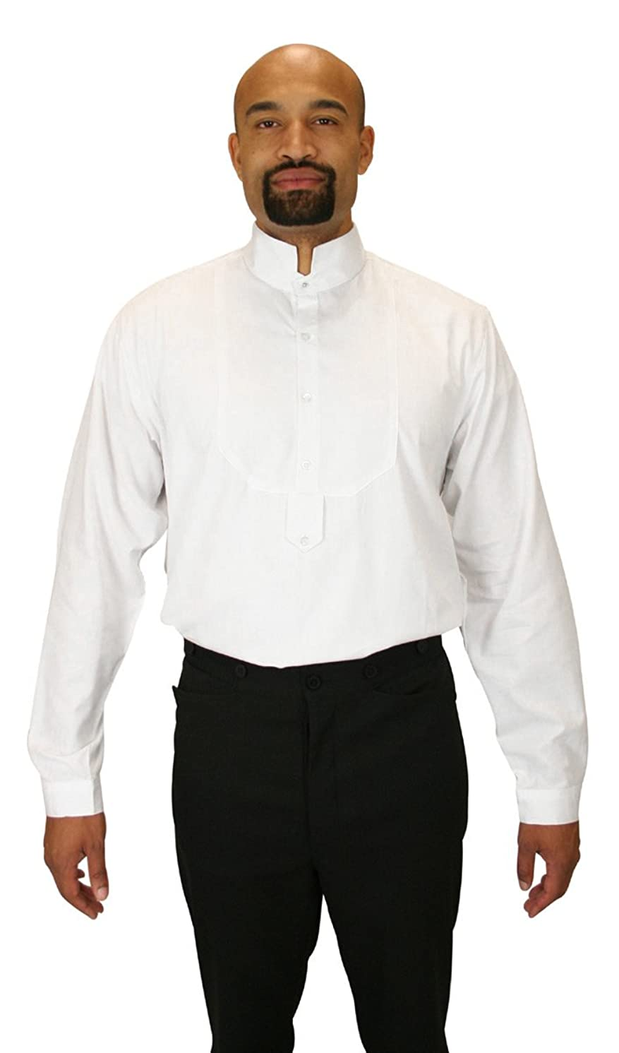 Historical Emporium Men's Victorian Collar Stud/Cufflink Convertible Dress Shirt