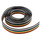 Aussel Ribbon Cable 1.27mm Rainbow Color Flat Cable para conectores de 2.54 mm (10Wire/6M)