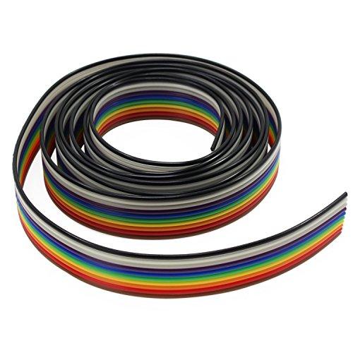 Aussel Flachbandkabel 1,27 mm Rainbow Color Flachkabel für 2,54 mm Steckverbinder (10Wire/6M)