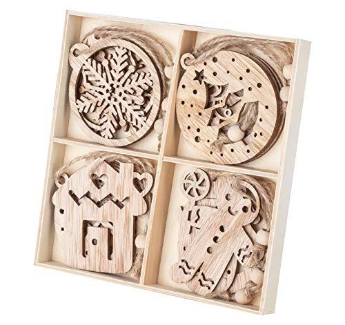Weihnachtsanhänger Holz, 12 Stile Holz-Anhänger Schneeflocken Baumschmuck mit Juteseil, Holz Anhänger Christbaumschmuck für Dekoration & Christbaumanhänger in Holz-Box (7-9cm)