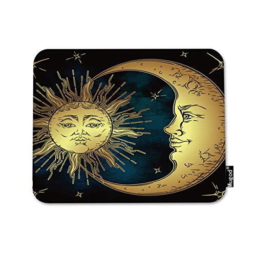 Mugod Boho Chic Mouse Pad Antique Style Golden Sun Crescent Moon Stars Over Blue Black Sky Decor Gaming Mouse Pad Rectangle Non-Slip Rubber Mousepad for Computers Laptop 7.9x9.5 Inches