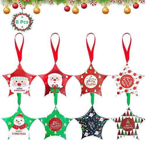Danolt 8 Styles Weihnachten Süßigkeitskästen, Papierboxen Geschenkschachte Mitbringsel für Weihnachten Cupcake Süßigkeiten Kinder mit Santa Claus Mitbringsel Tasche