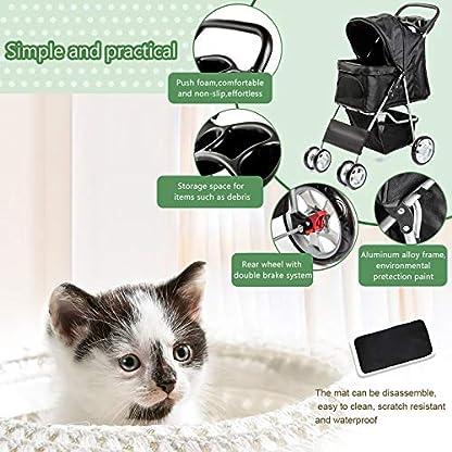 Display4top Pet Travel Stroller Dog Cat Pushchair Pram Jogger Buggy With 4 Wheels (Black) 3