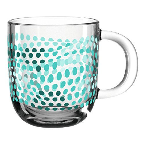 Leonardo - GK - Tasse - Illusione - Petrol - verstärktes Glas mit Henkel - 400ml -(B/H/T): 125/100/87mm - Spülmaschinengeeignet - Mikrowellenfest - 1 Stück
