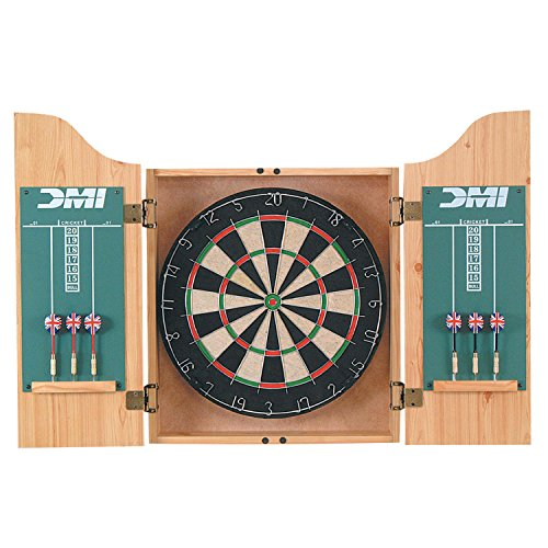 DMI Sports Deluxe Bristle Dartboard Cabinet Set with Electronic Scorer Includes 2 Dart Sets and a Chalk Scoreboard – Light Oak